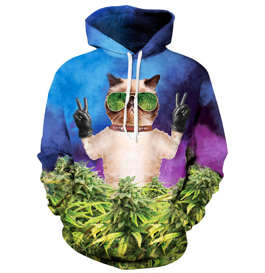 Harajuku Style Coral Hipster Cat Hoodie Women/men Printed Hoodies Weed Leaf Sweatshirts 3d Long Sleeve Shirts Free Shipping