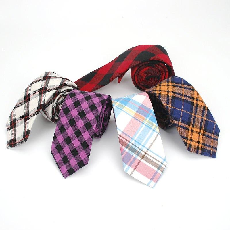 Fashion Men Ties New Plaid Vintage Cotton Men Skinny Necktie Corbatas Neck Ties 6 CM Narrow Party Wedding Slim Neck Tie For Men