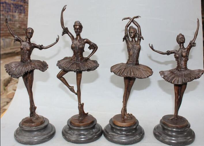 "14"" Chinese Bronze Nude Art Dance 4 Great Beauty Belle Peri Goddess Set Statue R0707 Discount 35% statue nude statues goddess statue art - title="
