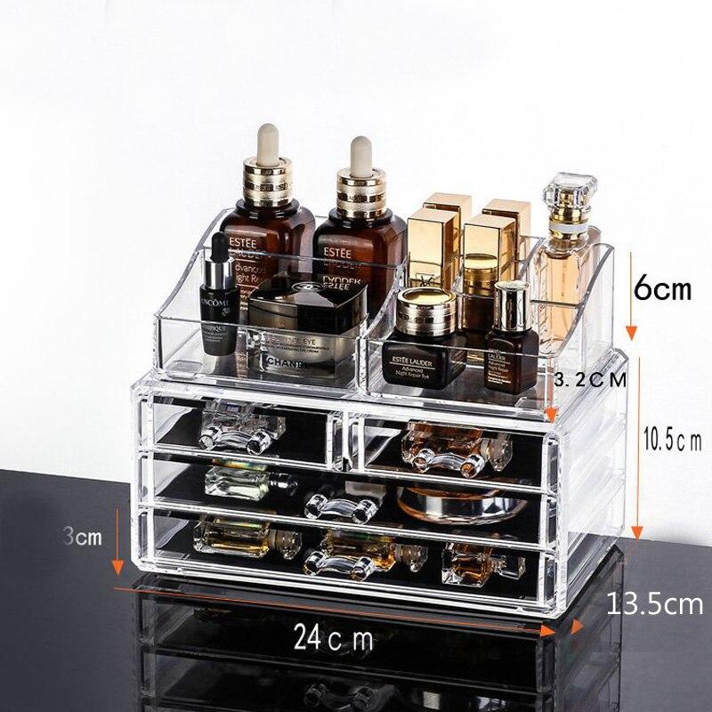 Acrylique maquillage organisateur boîtes de rangement maquillage organisateur pour bijoux cosmétiques brosse rouge à lèvres organisateur maison rangement tiroirs boîte