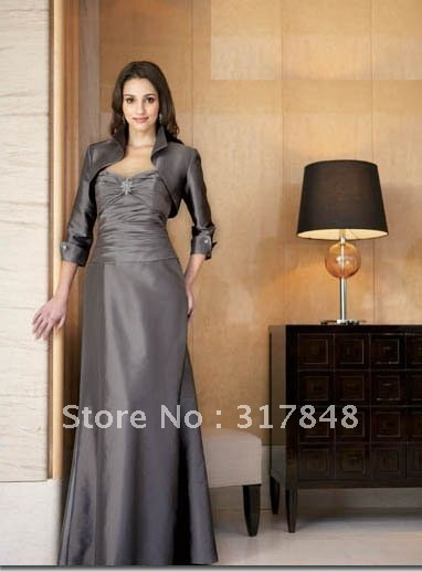2013 freeshipping latest formal designer gray ruffle with long sleeves jacket women dresses mother of the wedding dresses MD30