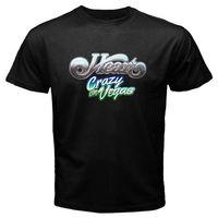 Baumwolle Shirts Neue HERZ * Verrückt auf Vegas Konzertreise Rockmusik herren Schwarz T-Shirt Größe S-3XL Marke Kleidung hip-hop Top