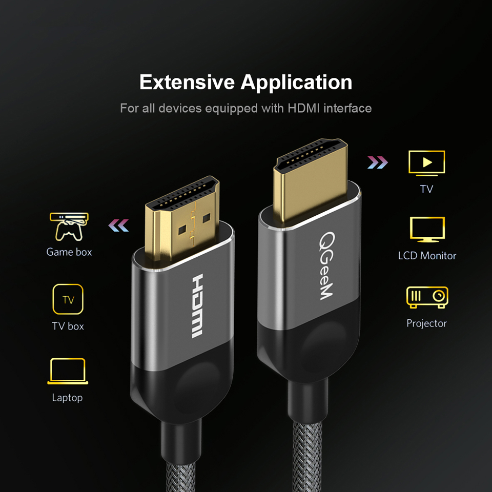Image 2 - QGEEM HDMI Cable HDMI to HDMI 2.0 Cable 4K for Xiaomi Projector Nintend Switch PS4 Television TVBox xbox 360 1m 2m 5m Cable HDMI-in HDMI Cables from Consumer Electronics