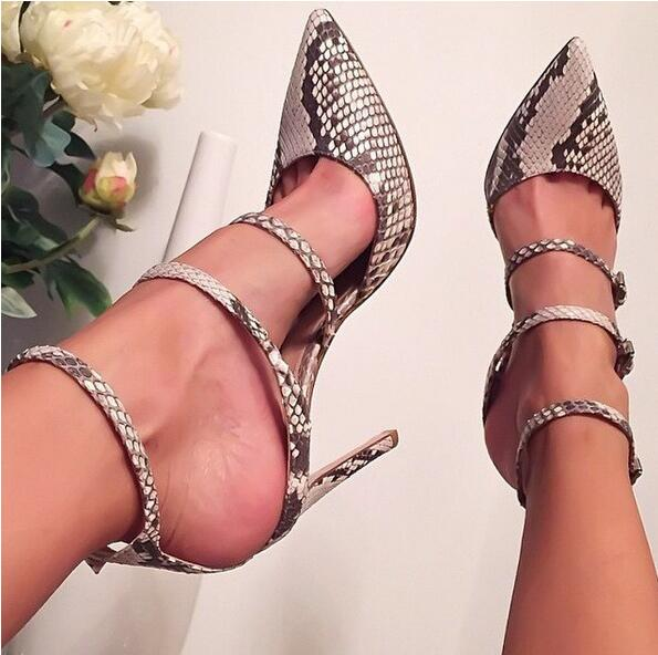 Sexy Snakeskin Pointed Toe Women Sandals Triple Ankle Buckle Strap Shoes Thin High-heeled Lady Pumps Cut-out Gladiator Shoes lady big size 4 15 elegant summer glitter buckle strap soft pointed toe thin high heeled sandals shoes women pumps 5colors girls
