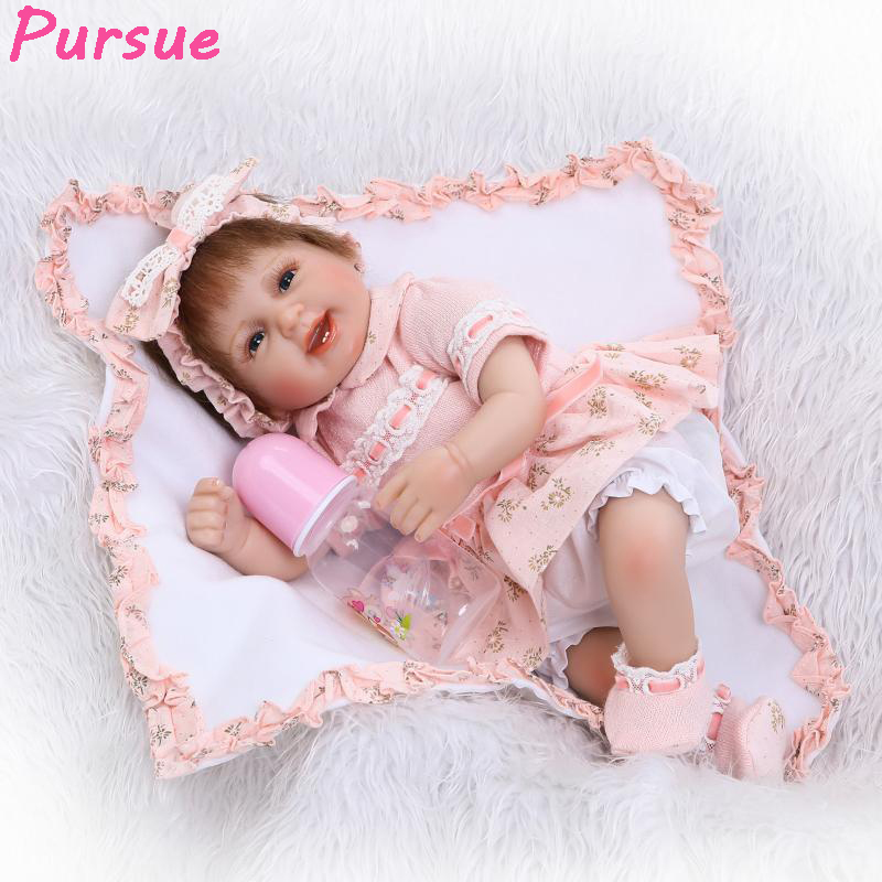 Pursue 17/43 cm Silicone Reborn Doll Baby Alive Baby Dolls for Sale Girl Reborn Toddler Gift Bebe Silicone reborn realista 43cm pursue 16 42cm american girl dolls silicone baby dolls for sale realista life like dolls toys for children doll christmas gift