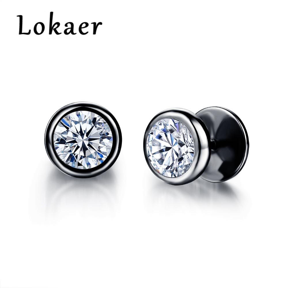 Lokaer Top Quality Earrings Jewelry Delicate Stainless Steel Inlaid CZ Accessories Color Black Men Women Stud Earrings LGE325