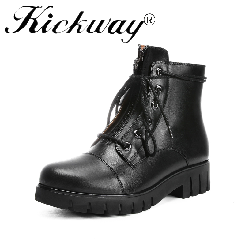Kickway Genuine Leather Motorcycle boots Biker Sexy Shoes Women Boots Brand Shoe Famous Designer Woman Flats Black Big Size 42 taoffen genuine leather motorcycle boots biker shoes women suede pointed snow boots brand shoe famous designer woman flats punk