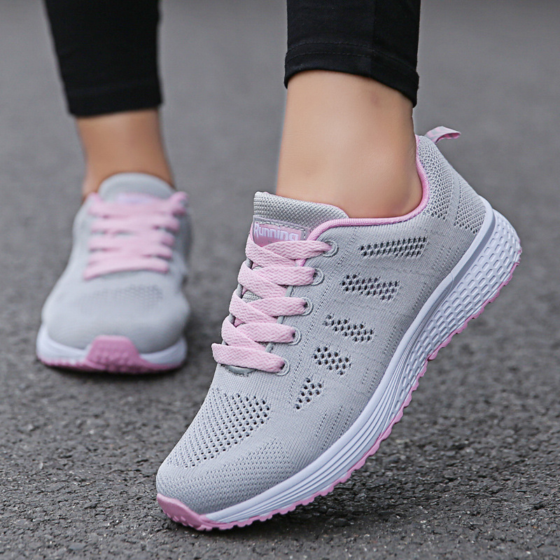 Women Casual Shoes Fashion Breathable Walking Mesh Flat Shoes Sneakers Women 2020 Gym Vulcanized Shoes White Female Footwear 4