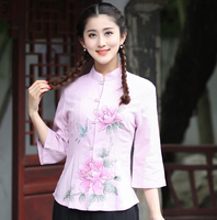 Spring Summer New Lady Cotton Linen Shirt Chinese Women Mandarin Collar Blouse Flower Clothing Tops S