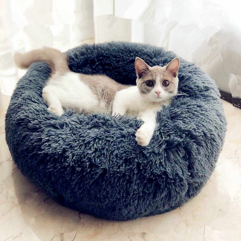 Round Plush Cat Bed House Soft Long Plush Best Pet Dog Bed For Dogs Products Nest Winter Warm Sleeping Cat Pet Bed Mat Cat House