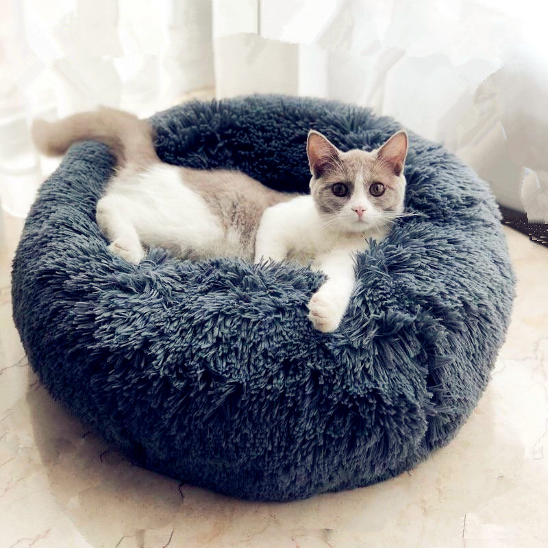Round Plush Cat Bed House Soft Long Plush Cat Bed Round Pet Dog Bed For Small Dogs Cats Nest Winter Warm Sleeping Bed Puppy Mat Домашнее животное