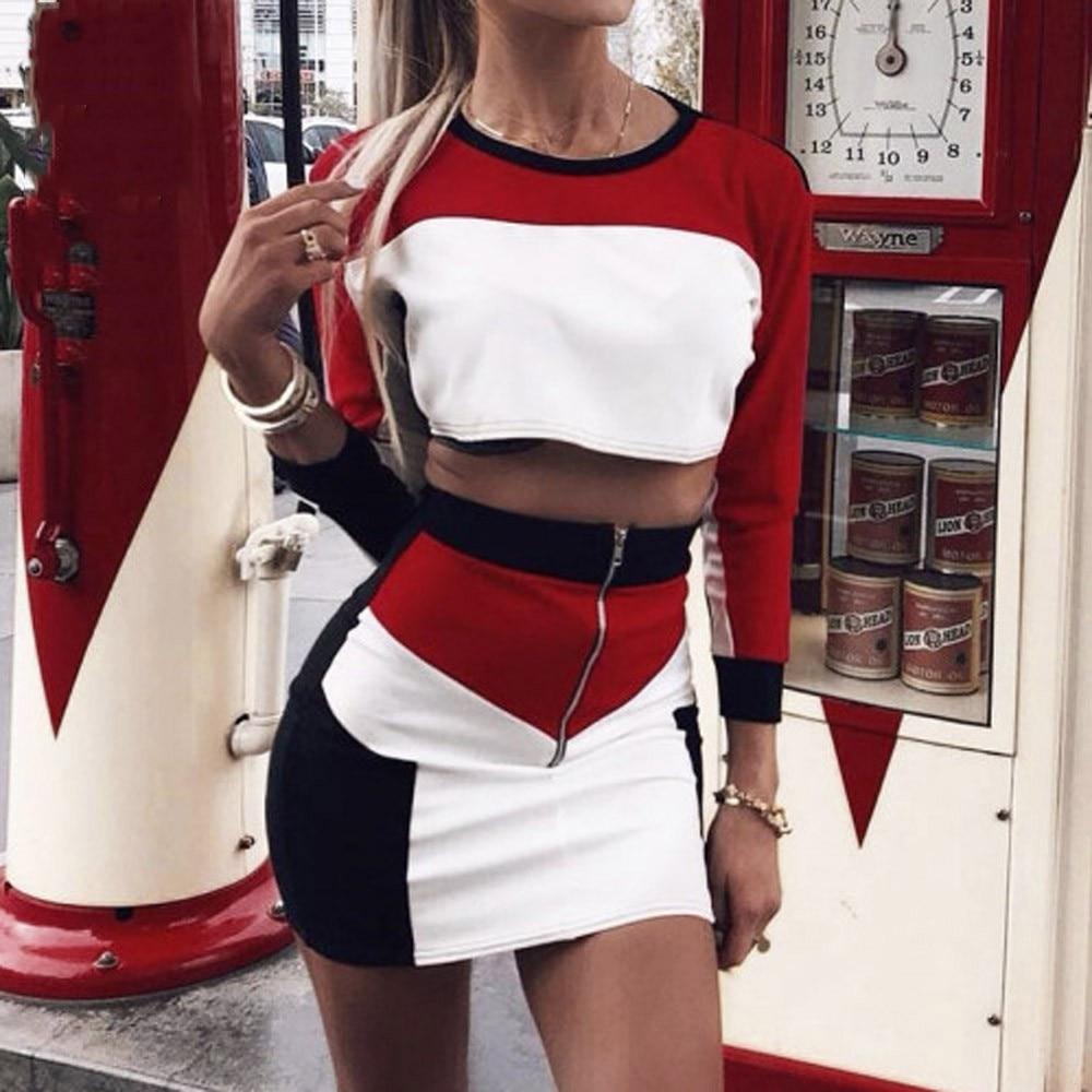 LNCDIS Summer NEW HOT Fashion 2Pcs Women Tracksuit Sweatshirt Skirt Sets Sport Long Sleeve Wear Casual Suit Freeship N4