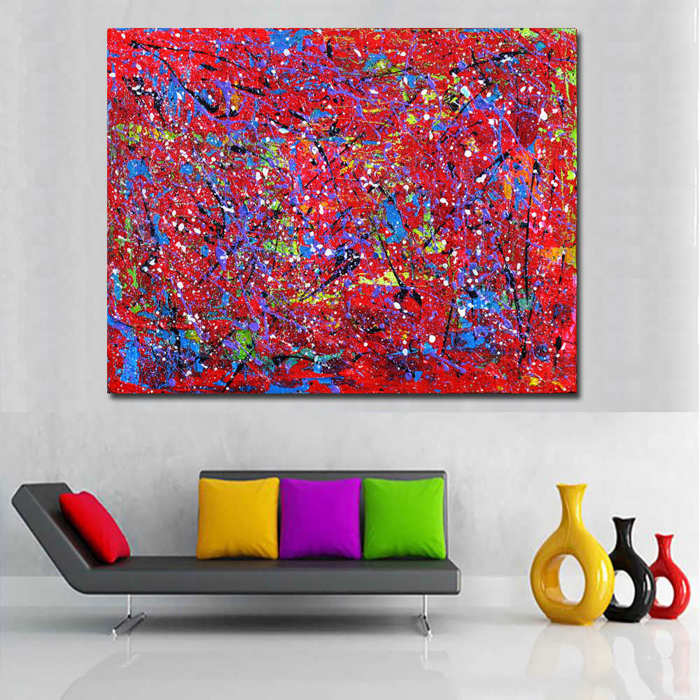 SELFLESSLY Wall Decor Canvas Printed Abstract Red Blue Oil Painting Wall Pictures For Living Room Canvas Posters Unframed
