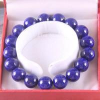 Free Shipping Fine Jewelry Stretch Blue 12MM Round Beads 100% Natural AA Genuine Lapis Lazuli Bracelet 8 with Box 1Pcs RJ022