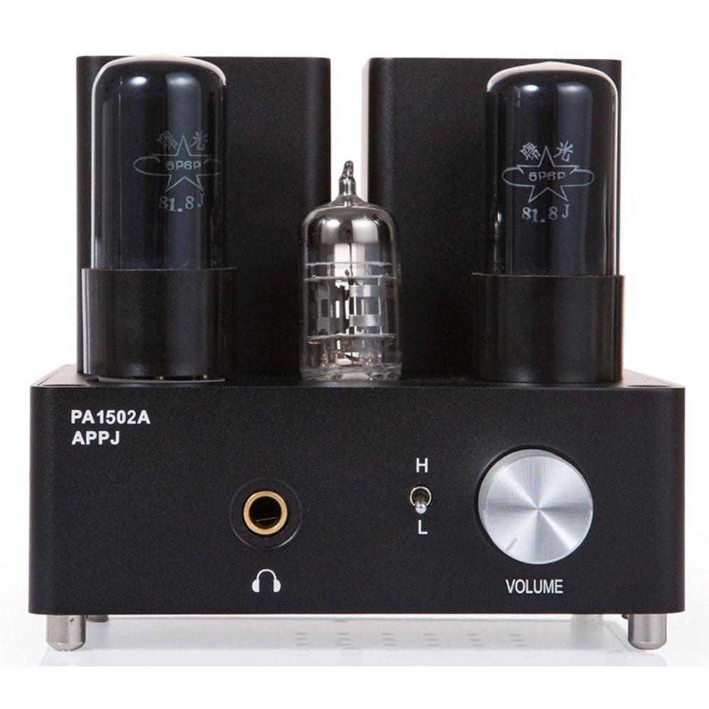 APPJ PA1502A 6N4+6P6PX2 Tube Headphone Amplifier Black appj pa1502a tube headphone amplifier hifi exquis 6n4 12ax7 6p6p 6v6 lamp headset amps