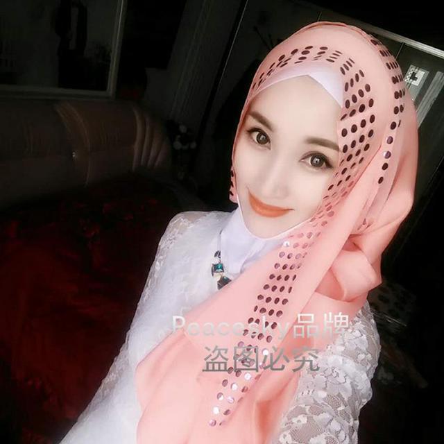 2016 Adultos Popelín plazo Promoción Moda Pieza Salvaje Lentejuelas Pañuelo Musulmán Hijab Malasia Indonesia Modelos Hijabs W188