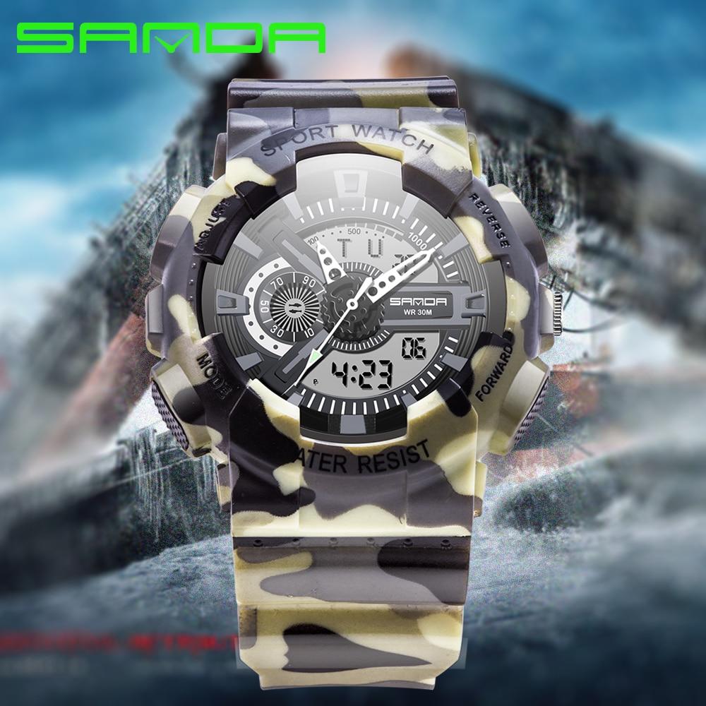 3d275e7b5d99 € 12.37 41% de DESCUENTO|Reloj de moda de marca SANDA de 2016, relojes de  pulsera militares de estilo G para hombre, relojes deportivos digitales ...