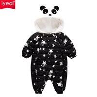 IYEAL Nowy Mody 2017 Noworodka Zimą Odzieży Baby Boy Dziewczyna Pajacyki Bawełniane Wyściełane Panda Ubrania Pogrubienie Kombinezon Dla Niemowląt