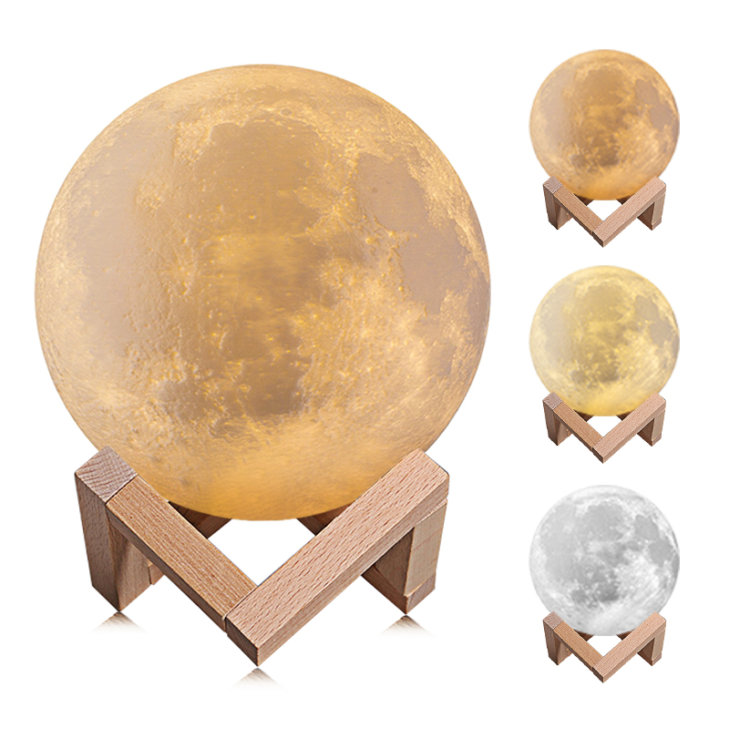 все цены на 3 Color 3D Print Moon Lamp Light USB LED Rechargeable Novelty Touch+Slap Sensor Table Desk Lamp Creative Night Light Decor Gift