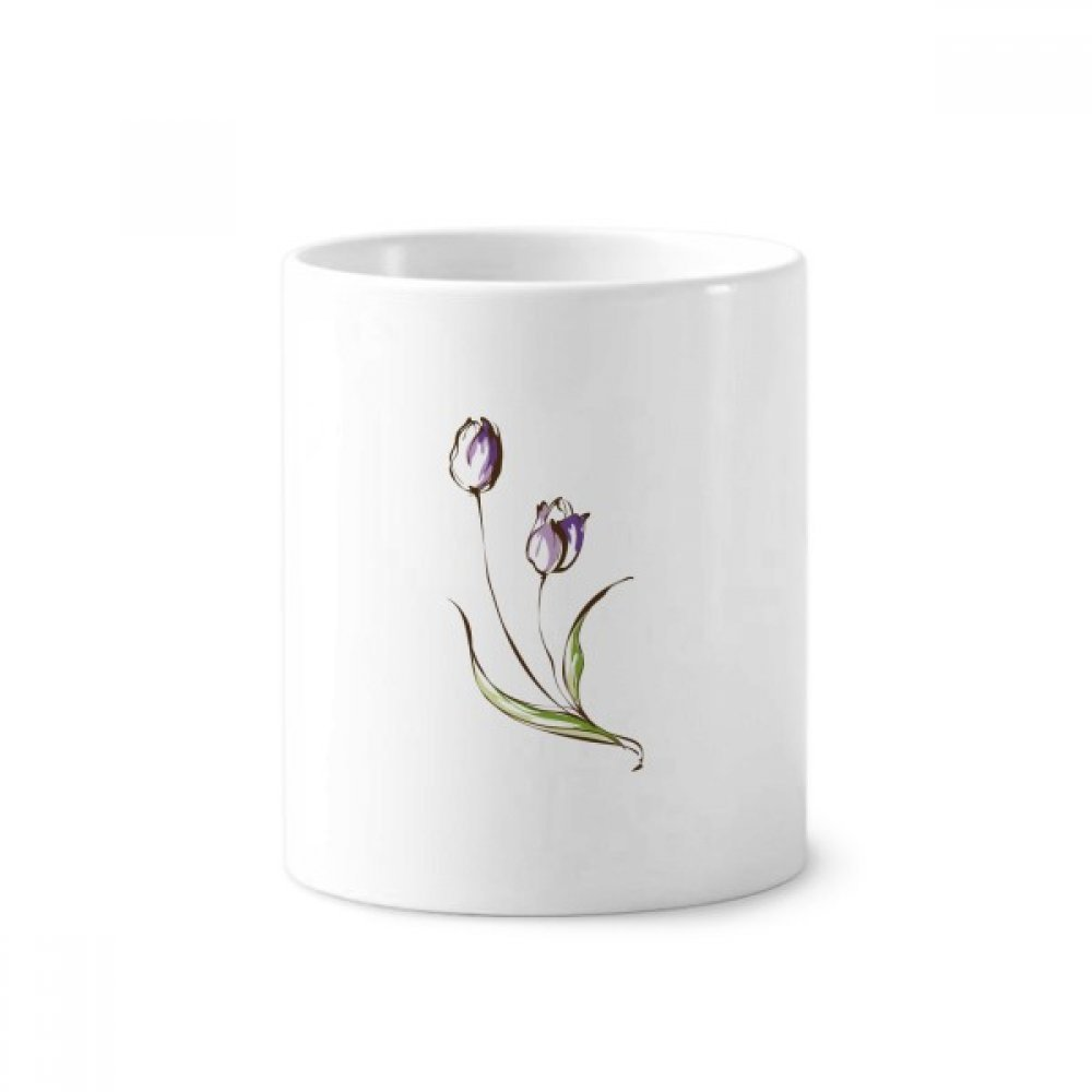 Purple Flower Plant Tulip Greenery Toothbrush Pen Holder Mug White Ceramic Cup 12oz image