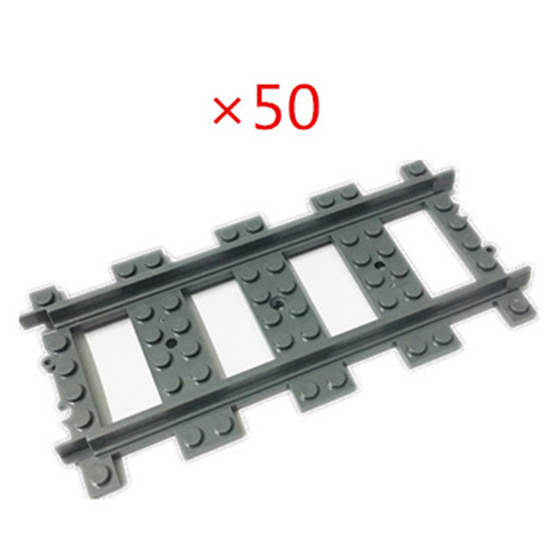 50 100 Pcs/lot City Trene Train Track Rail Trains Straight Rails Building Blocks Set Bricks Model Kids Toys Compatible Legoings