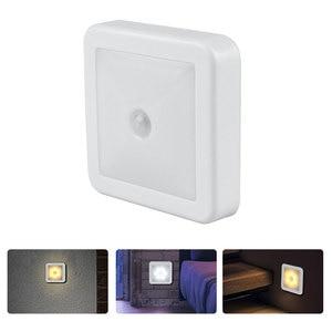 Image 2 - Nova luz noturna sensor de movimento inteligente led night lamp bateria operado wc lâmpada de cabeceira para sala corredor caminho wc da