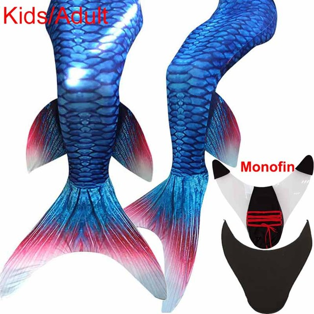 Kiqoo New Arrival Princess Ariel Adult Mermaid Tail with Monofin Little Mermaid Tails Costume Adult Swimming Cosplay