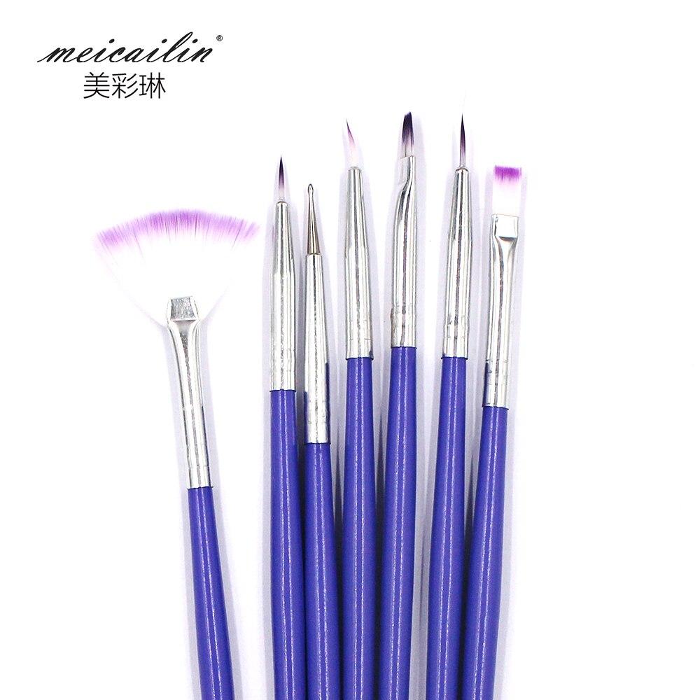 Brush On Nail Gel: New 7Pcs Nails Brush Set Crystal Nail Polish Brush Kits