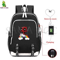 Funny Deadpool Unicorn USB Charging Backpack Multifunction Laptop Backpack for Teenage Girls Boys School Bags Travel Backpack