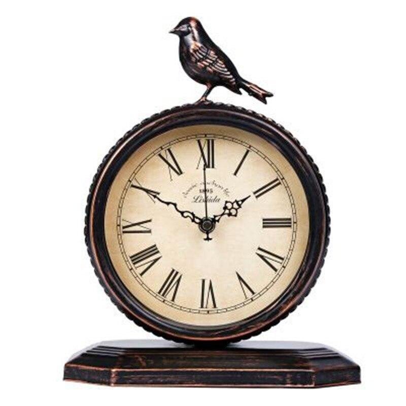 European style Bird Clock Creative Classic Wall Clock Vintage Decorative Metal Wall Clock Antique Clock