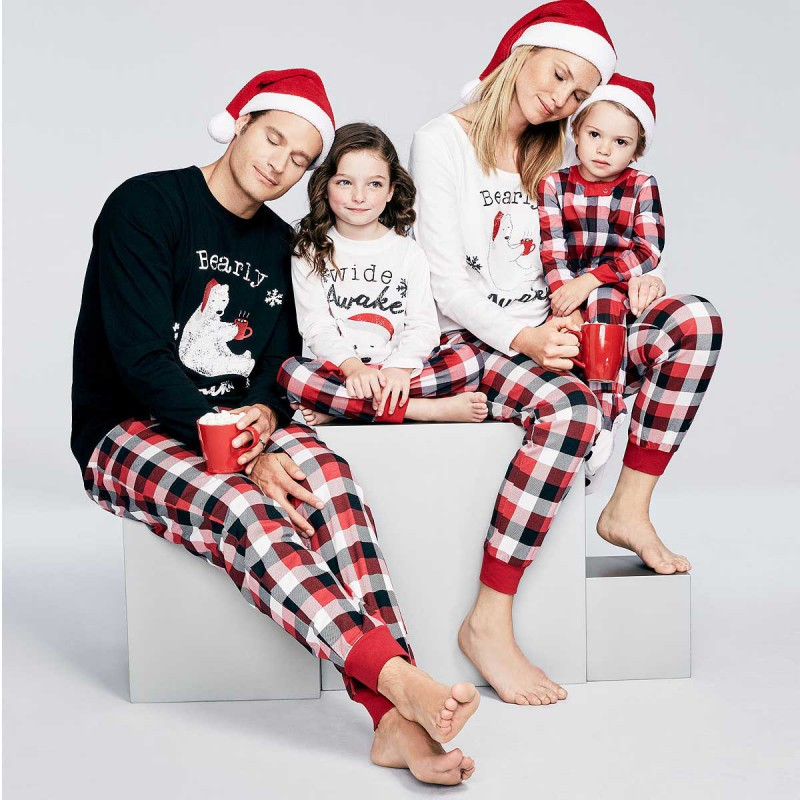 ETOSELL Family Christmas Bear Letter Printing Pyjamas Set Striped Pants Long Sleeve Top Kid Father Mother Pajamas