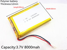 126090 3.7 V Lithium Polymer Battery 8000Mah Mobile Emergency Power Charging Treasure Battery 3 x factory direct mobile power battery lithium polymer battery 296180 1380mah slim battery charging treasure
