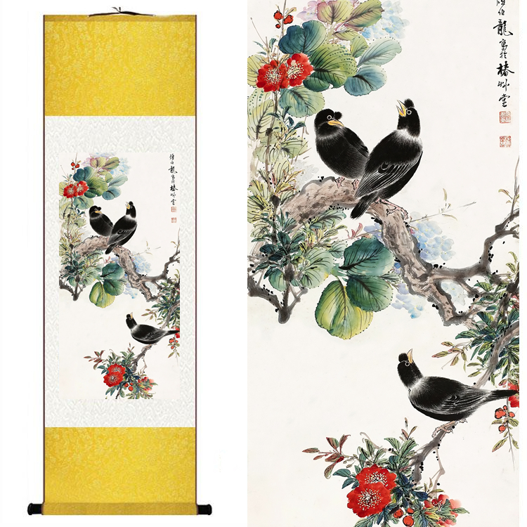 Home decor chinese silk watercolor flower and birds for Home interiors and gifts framed art