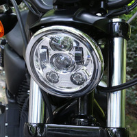 For Harley LED Headlight Black Chrome DOT 5.75 INCH rojector Bulb E085