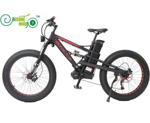 Livraison gratuite RisunMotor Mustang DNM double Suspension 48 V 1000 W 8Fun mi-entraînement moteur électrique gros vélo avec batterie Li-ion 26.1AH