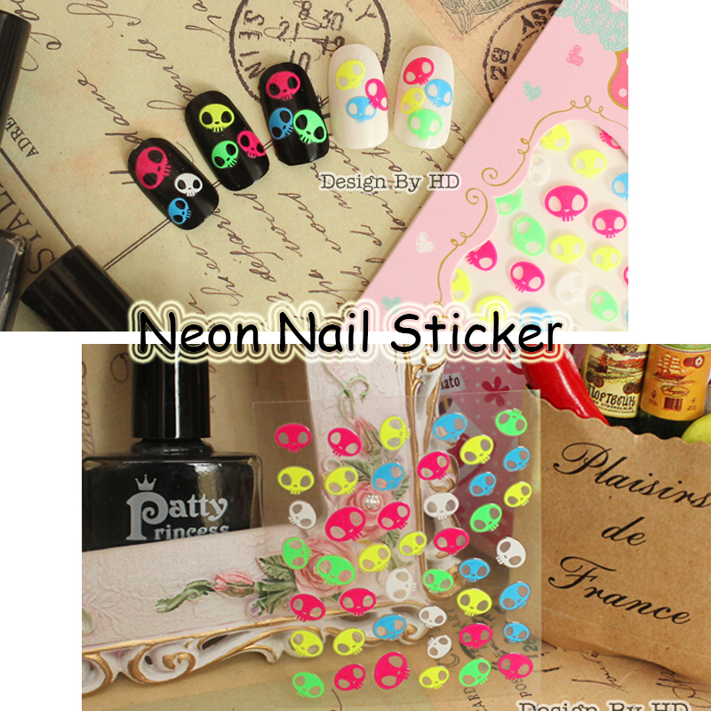 Free Shipping 24pcs Halloween Neon Skull Nail Art Sticker ...