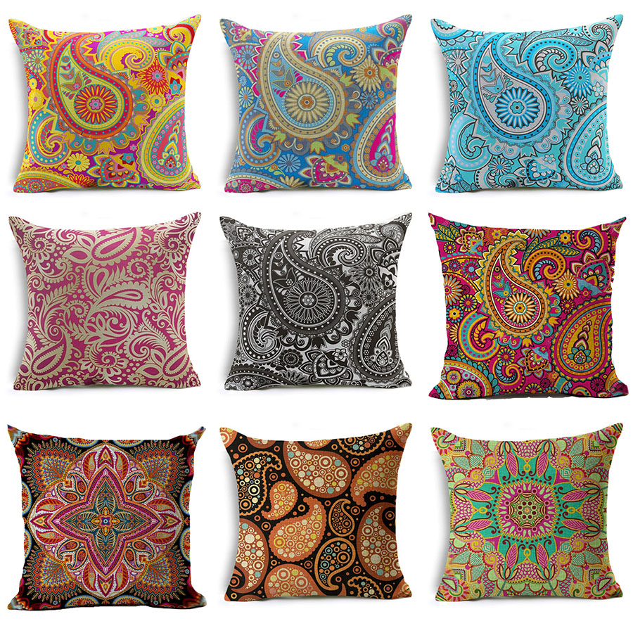 Colorful Paisley Bohemian Style Cotton Linen Cushion Cover TV Potato Throw Pillow Case Waist Couch Seat Pillow Cover Decoration