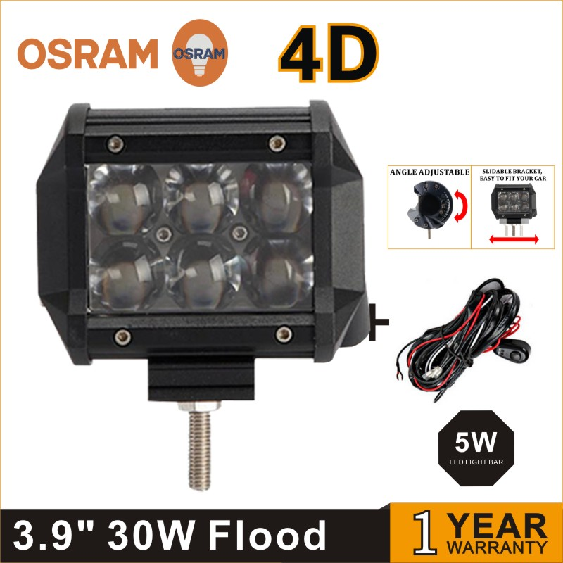 ФОТО Hotsale!! 3.9inch 2 ROW 30W 4D Osrams LED LIGHT BAR LED RAMP LAMP OFFROAD for all vehicles with high low beam function9V 32V