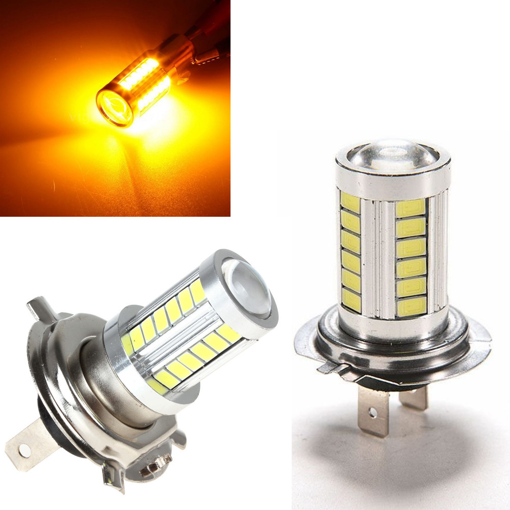 CYAN SOIL BAY 2X H7 Super Bright Amber Yellow Orange 5630 33SMD 33 LED 12V Auto Car Fog Driving Light Lamp Bulb h1 super bright white high power 10 smd 5630 auto led car fog signal turn light driving drl bulb lamp 12v