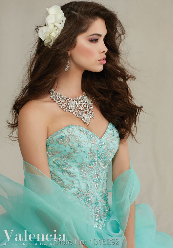 18c9bdb384e0d Gorgeous Embroidery Beaded Sweetheart Organza Ruffles Mint Quinceanera  Dresses 2015 Ball Gowns Puffy Quinceanera Gowns-in Quinceanera Dresses from  Weddings ...