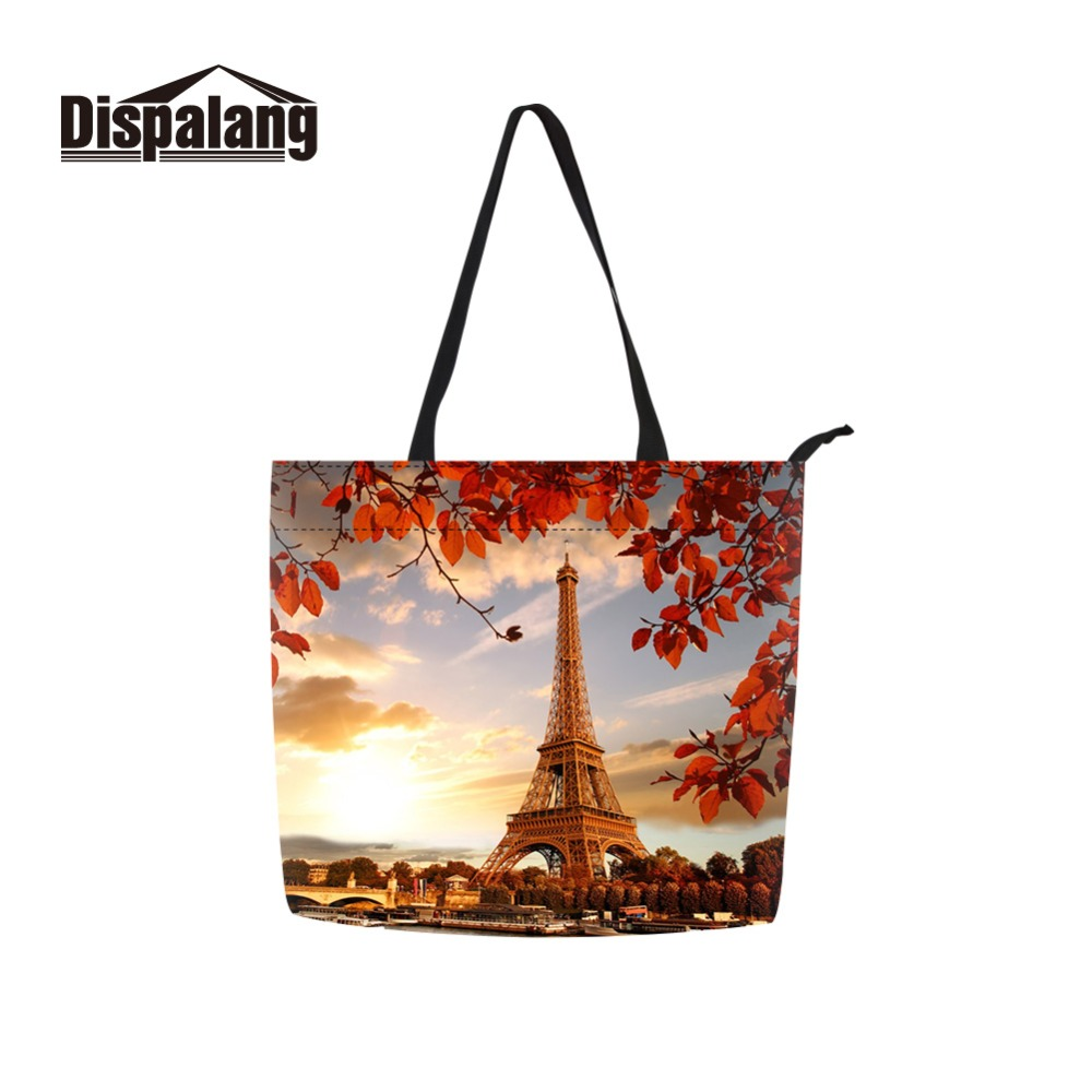 Dispalang Big Canvas Tote Bag Fabric Cotton Cloth Reusable Handbags Scenery Printed Shopping Carrier for Lady Grocery Bags image