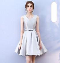 Grey Colour Bridesmaid Dress Above Knee Mini Dress  Satin Women Wedding Party Dress