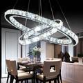 Modern Ring Crystal Chandeliers AC 110V 220V Stainless Steel Lustre De Cristal Hanglamp Kroonluchter Lamparas Led Chandeiler
