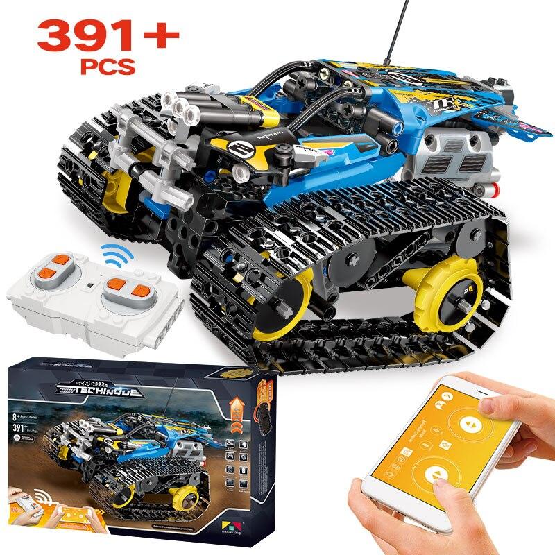 391 pièces créateur APP télécommande briques de voiture legoely technique RC suivi coureur modèle blocs de construction jouets pour enfants cadeau