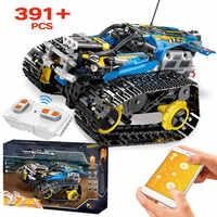 391 sztuk Creator APP zdalnie sterowanym samochodowym cegły Legoingly Technic RC śledzone Racer Model klocki dla dzieci prezent