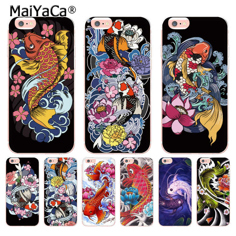 MaiYaCa Japanese Japan Tattoo Koi Fish Coque Shell Phone Case for Apple iPhone 8 7 6 6S Plus X 5 5S SE XS XR XSMAX