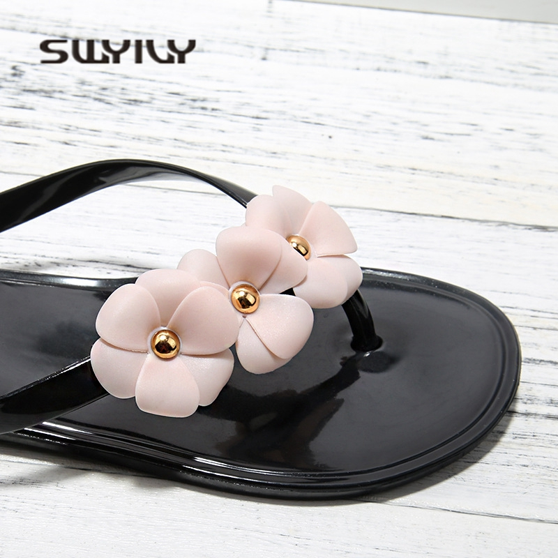 SWYIVY Womens Slippers Flip Flops Jelly Shoes 2018 Camellia Flower Woman Beach Slipper Summer Woman Jelly Casual Shoes Flat 40 2