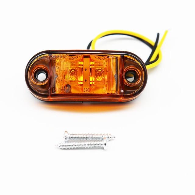 2Pcs 12V / 24V LED Side Marker Lights Car External Lights Warning Tail Light Auto Trailer Truck Lorry Lamps Amber color 1
