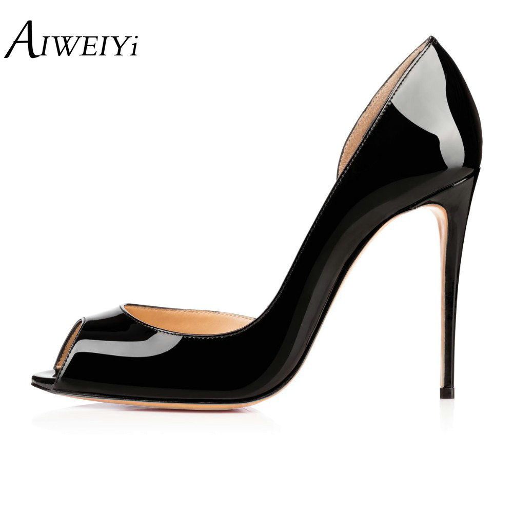 AIWEIYi Women High Heels Peep Toe Thin Heels Slip On Platform Pumps Sexy Party High Heel Pumps Black Red Ladies Wedding Shoes  цена и фото