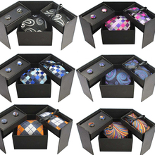Men's Tie Pocket Square Set With Gift Box Classic Paisley &